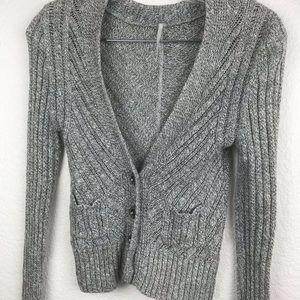 Free People Sweater SZ XS Solid Grey Crop Top NWOT